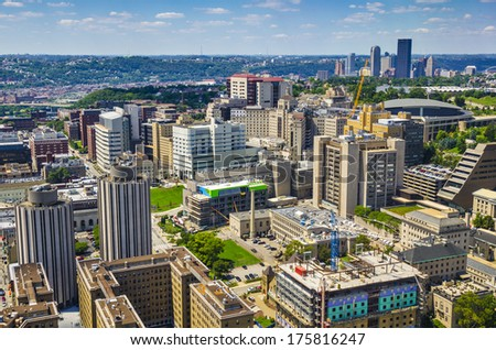 PIttsburgh, Pennsylvania, USA skyline over the Oakland District. - stock photo