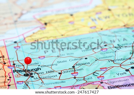Pittsburgh pinned on a map of USA  - stock photo