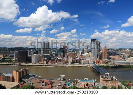 Pittsburgh skyline in Pennsylvania - city in the United States. - stock photo