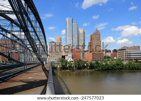Pittsburgh skyline seen from Smithfield Street Bridge with Monongahela River. - stock photo