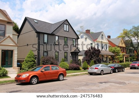 PITTSBURGH, USA - JUNE 30, 2013: Residential area of Shadyside, Pittsburgh. It is the 2nd largest city of Pennsylvania with population of 305,841. - stock photo