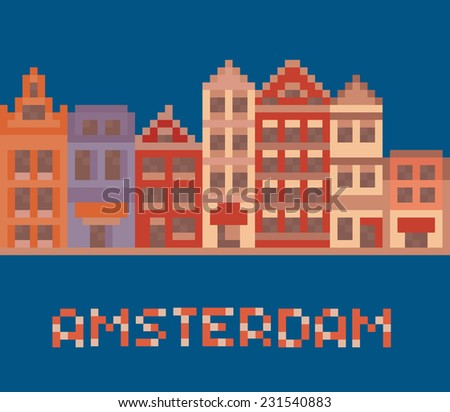 pixel art illustration shows amsterdam holland facades of old houses street on dark blue background - stock photo