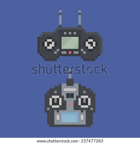 pixel art style illustration of remote control radio controller 8 bit - stock photo