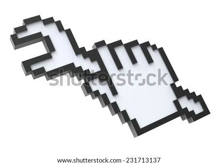 Pixel cursor with the wrench - stock photo