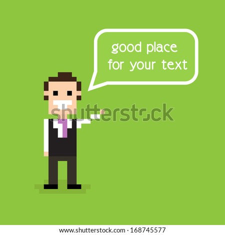 Pixel office man staying alone and greeting with speech bubble - stock photo
