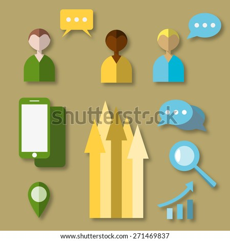 Pixel perfect flat icons set with long shadow effect of digital marketing symbol, business development items, social media objects and office equipment. Flat design style modern pictogram collection. - stock photo