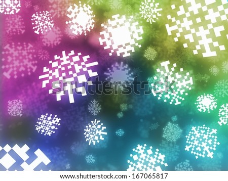 pixel snowflakes color background retro style illustration - stock photo