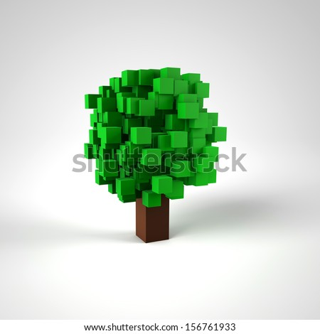 Pixel Tree Nature Sign - stock photo