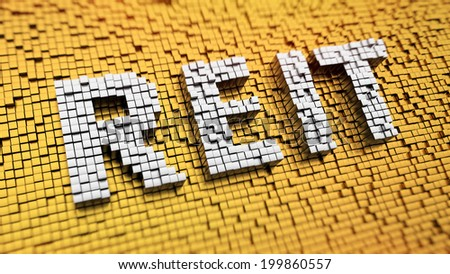 Pixelated acronym REIT made from cubes, mosaic pattern - stock photo
