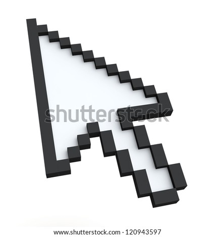 Pixelated 3d arrow pointer on a white background - stock photo