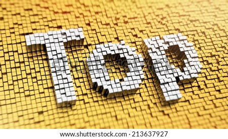 Pixelated word TOP made from cubes, mosaic pattern - stock photo