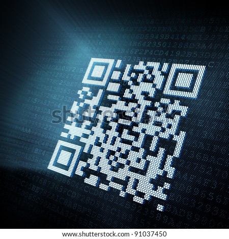 Pixeled QR code illustration, 3d render - stock photo