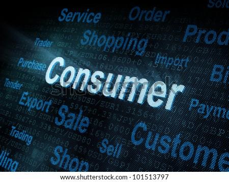 Pixeled word Consumer on digital screen 3d render - stock photo