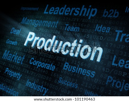 Pixeled word Production on digital screen 3d render - stock photo