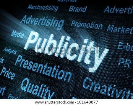 Pixeled word Publicity on digital screen 3d render - stock photo