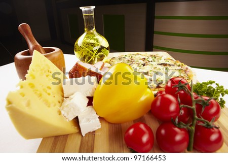 Pizza and ingredients - stock photo