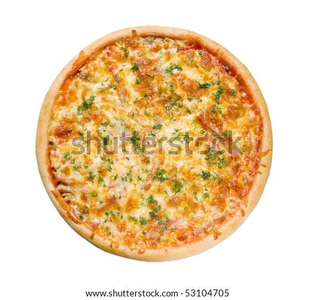 Pizza and italian kitchen. Studio. Isolated on white background. - stock photo