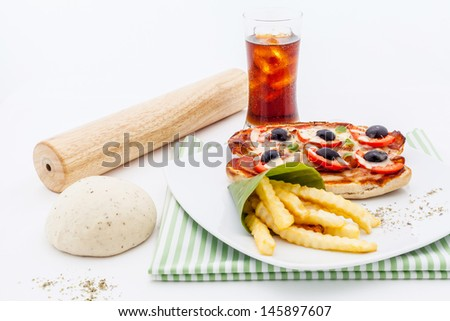 Pizza baguette with sausages and tomatos. - stock photo