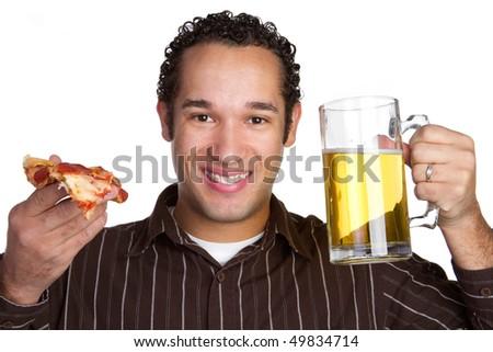 Pizza Beer Man - stock photo
