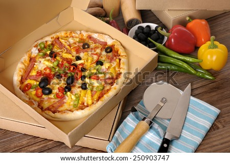 Pizza box : making, ingredients, top view. - stock photo