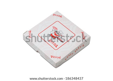 Pizza Box of White Cardboard, Isolated - stock photo