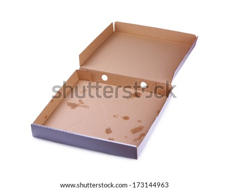 Pizza box on a white background - stock photo