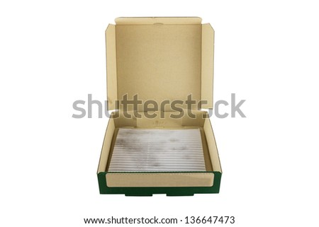Pizza box used for food packing - stock photo