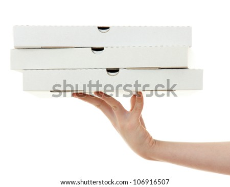 pizza box with hand  , isolated on white background - stock photo