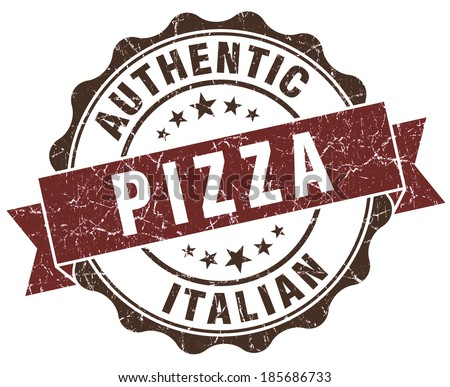 Pizza brown grunge retro style isolated seal - stock photo