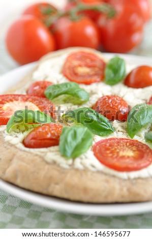 Pizza Caprese - stock photo
