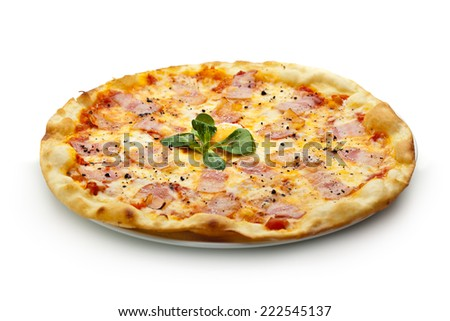 Pizza Carbonara with Bacon and Yolk of Chicken Egg - stock photo