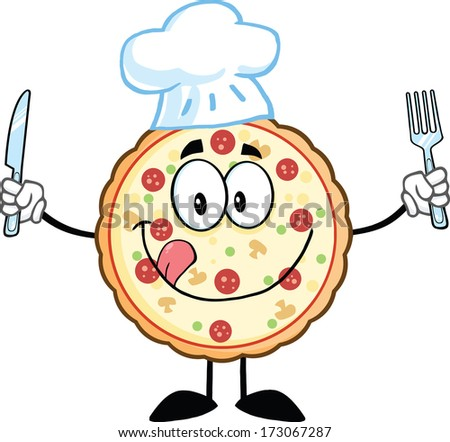 Pizza Chef Cartoon Mascot Character With Knife And Fork. Raster Illustration Isolated on white - stock photo