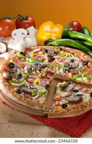 pizza close up - stock photo