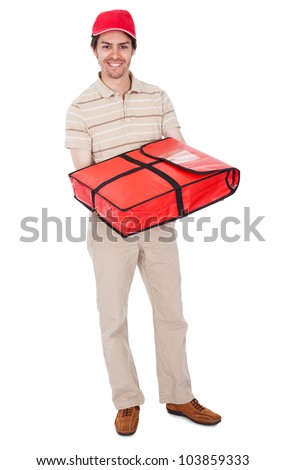 Pizza delivery boy with thermal bag. Isolated on white - stock photo