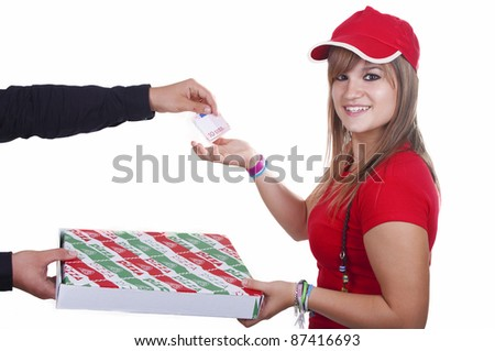 pizza delivery girl on white background - stock photo
