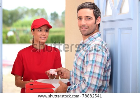 Pizza delivery service - stock photo