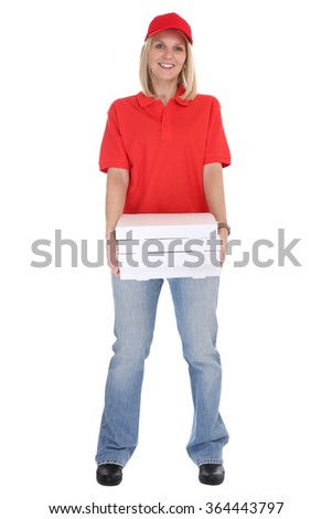 Pizza delivery woman order delivering job young full body isolated on a white background - stock photo