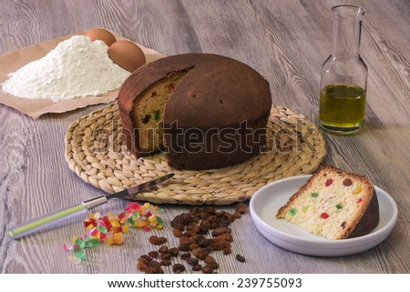 pizza Easter, ingredients for pizza stuffed cake, with candied fruits and raisins - stock photo