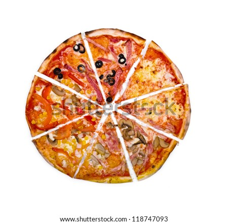 "Pizza ""four seasons"" cut isolated over white background - stock photo"