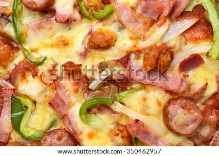pizza ham - stock photo