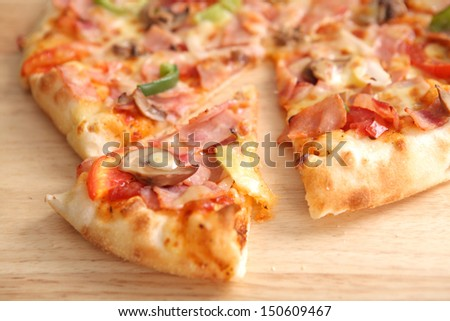 Pizza ham and mushroom isolated in white background - stock photo