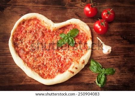 Pizza Heart - stock photo