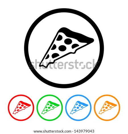 Pizza Icon with Four Color Variations - Raster Version.  Vector Also Available. - stock photo