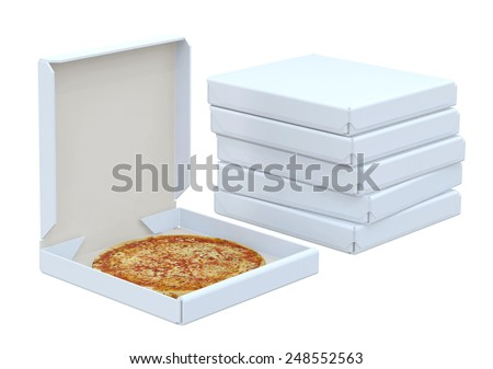 Pizza in box and many box isolated, 3d illustration - stock photo