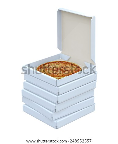 Pizza in box isolated, 3d illustration - stock photo
