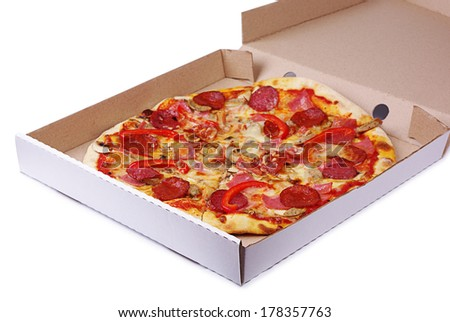 Pizza in box on a white background - stock photo