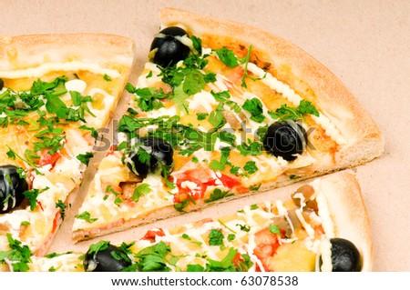Pizza in carton box - stock photo
