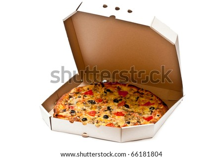 Pizza in open cardboard box isolated on white background - stock photo