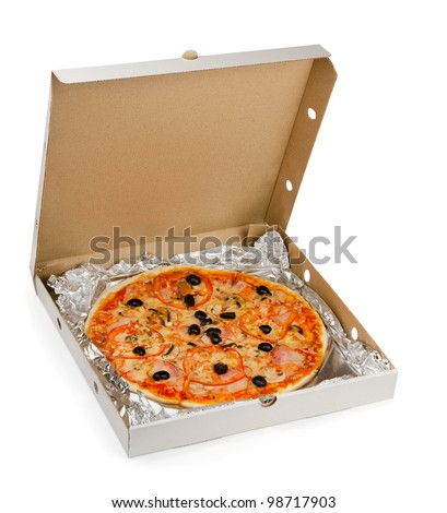 Pizza in take away box isolated on white - stock photo