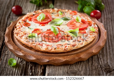 pizza margherita - stock photo